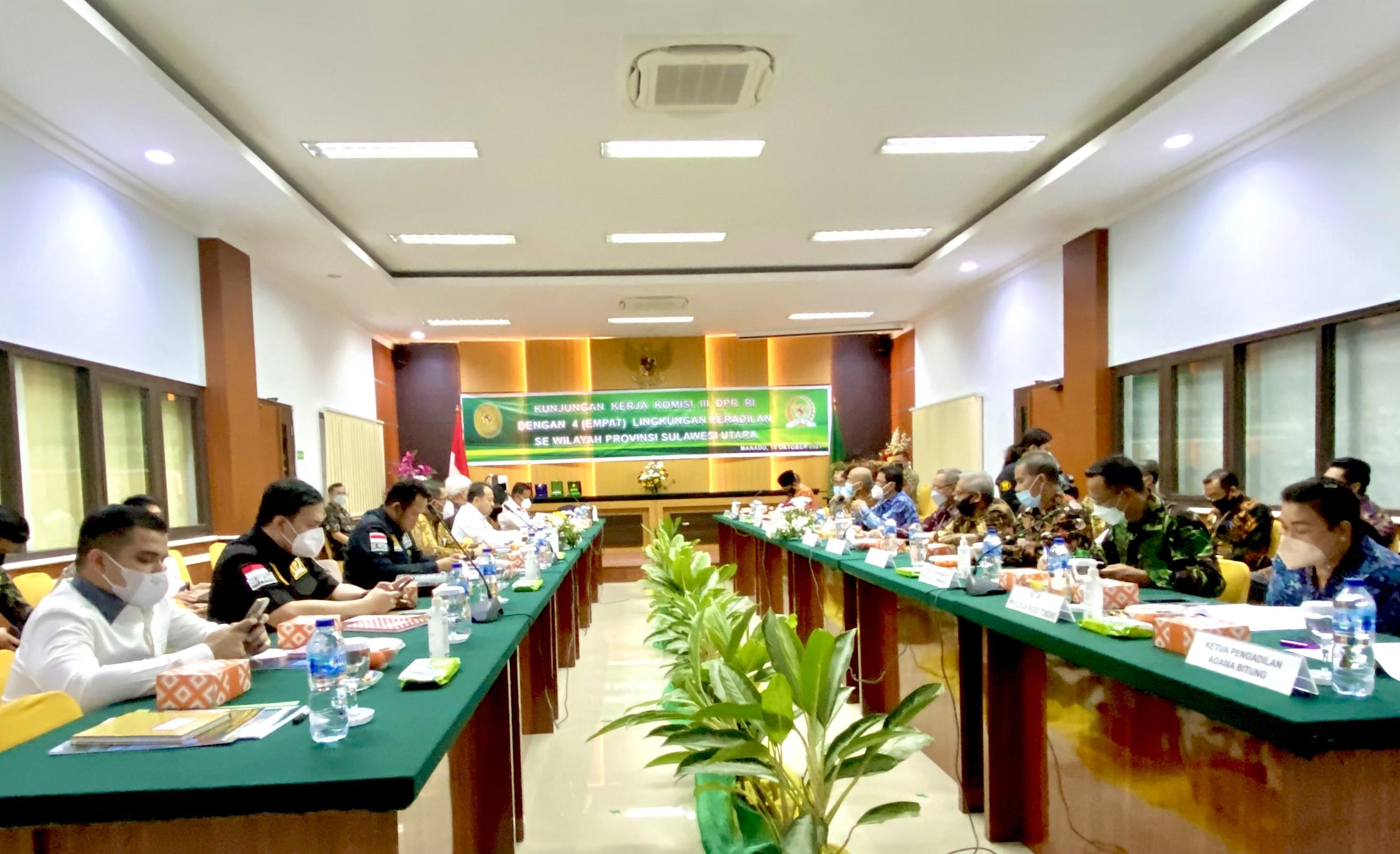 Kunjungan kerja komisi III DPR RI ke - 4 Lingkungan Peradilan Se - Wilayah Sulawesi Utara